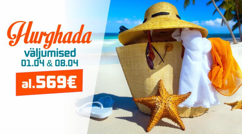 01.04, 08.04 väljumised Hurghadasse! al. 569 EUR