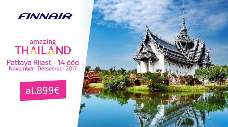 03.11, 10.11, 17.11, 24.11, 01.12- 14 ööd Tai, Pattaya Riiast al 899 EUR